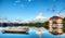 Stock Image : Pagodas al lado de un lago