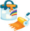 Stock Image : Paint bucket with rolling brush