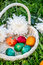 Stock Image : Painted easter eggs in basket