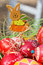 Stock Image : Painted Easter eggs, wooden rabbit