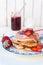 Stock Image : Pancakes with strawberries jam