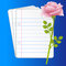 Stock Image : Paper folias and pink rose on a blue background