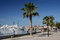 Paphos seafront with palm trees , fisherman and boats on April 20 in Paphos, Cyprus.Paphos -ancient city included in UNESCO list