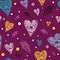 Stock Image : Pattern with hearts and birds