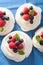 Stock Image : Pavlova meringue cake with cream and berry