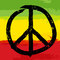 Stock Image : Peace symbol and rastafarian colors in background,