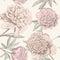 Stock Image : Peony sketch pattern