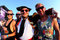 Stock Image : People disguised as Toreros (bullfighters) at FIB Festival