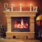 Stock Image : Photo interior of a home with a burning fireplace, candles and decorations. Ready for gifts for Christmas.