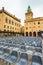 Stock Image : Piazza Maggiore with Accursio Palace and Palazzo del Podesta