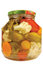 Stock Image : Pickled canned vegetables homemade assortment isolated glass jar