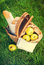 Stock Image : Picnic Wattled Basket with Food on Grass