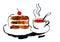 Stock Image : Piece of the cake and mug of tea