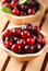 Stock Image : Pile of organic cherries