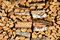 Stock Image : Piled firewood, wood texture