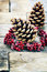 Stock Image : Pine cones on  wooden background