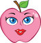 Stock Image : Pink Apple With Woman Face