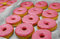 Stock Image : Pink donuts on display