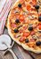 Stock Image : Pizza with ham, mushrooms and olives