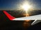 Stock Image : Plane in sun-shining sky.