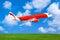 Stock Image : Plane on sky background