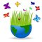 Stock Image : Planet earth and bright butterflies on a white background