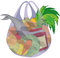 Stock Image : Plastic transparent shopping bag full of fruits vegetables and f