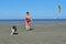 Stock Image : Playing Frisbee with Australian Shepherd