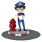 Stock Image : A police officer beside the hydrant