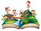 Stock Image : Pop-up book with monkeys