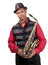 Stock Image : Portrait of attractive young saxophonist