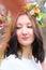 Stock Image : Portrait beautiful girl in wreath of flowers