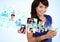 Stock Image : Portrait woman text messaging