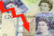 Stock Image : POUND sterling currency of the United Kingdom DECLINE