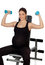 Stock Image : Pregnant woman lifting weights in the gym