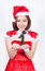 Stock Image : Pretty Asian girl in Santa costume for Christmas on white backgr