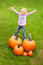 Stock Image : Pumpkin Girl collecting