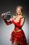 Stock Image : Queen in red dress