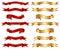 Stock Image : Röd & guld- uppsättning för samling för bandbanerinfall