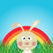 Stock Image : Rabbit with rainbow in the forest