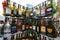 Stock Image : Rack with empty flat souvenir popular alcohol drinks bottles