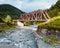 Stock Image : Railroad trestle over river, Carpathians
