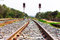 Stock Image : Railway tracks with signals on background