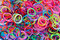 Stock Image : Rainbow loom rubber bands.