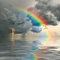 Stock Image : Rainbow over ocean