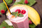 Stock Image : Raspberry banana smoothie closeup