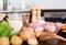 Stock Image : Raw turkey ham and vegetables