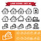 Stock Image : Real Estate line icons set 40