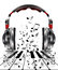 Stock Image : Realistic headphones with music notes