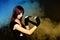 Stock Image : Rebel girl fist boxing bandage